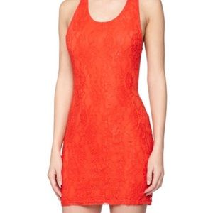 Lovers + Friends | Red Lace Criss-Cross Mini Dress